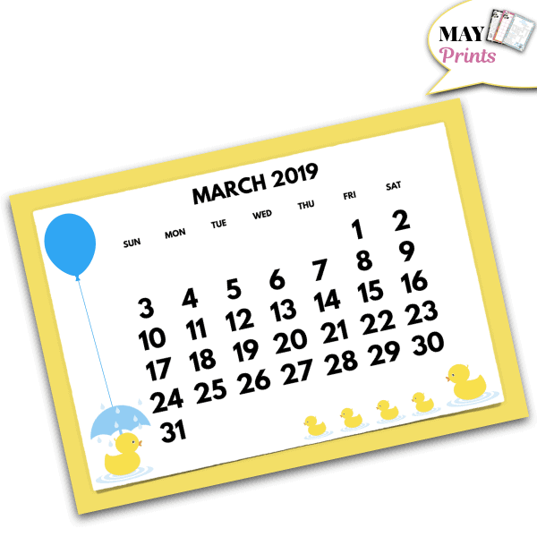 Printable Rubber Ducky Baby Shower Calendar