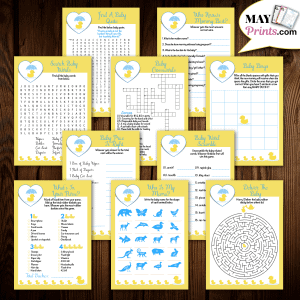 Printable Rubber Ducky Baby Shower Games