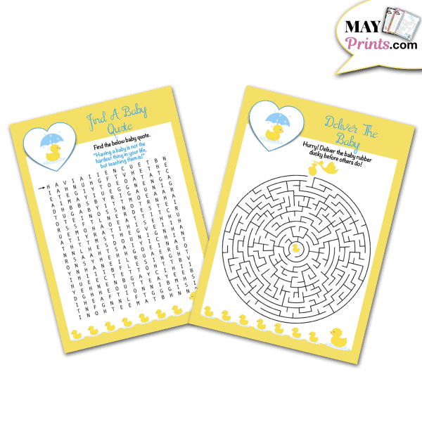 Printable Rubber Ducky Baby Shower Games Find A Baby Quote and Maze
