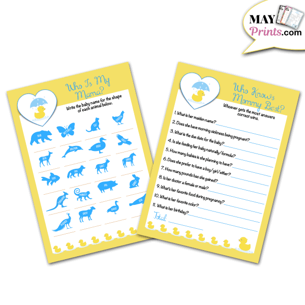 Printable Rubber Ducky Baby Shower Games Who Is My Mama and Who Knows Mommy Best Game
