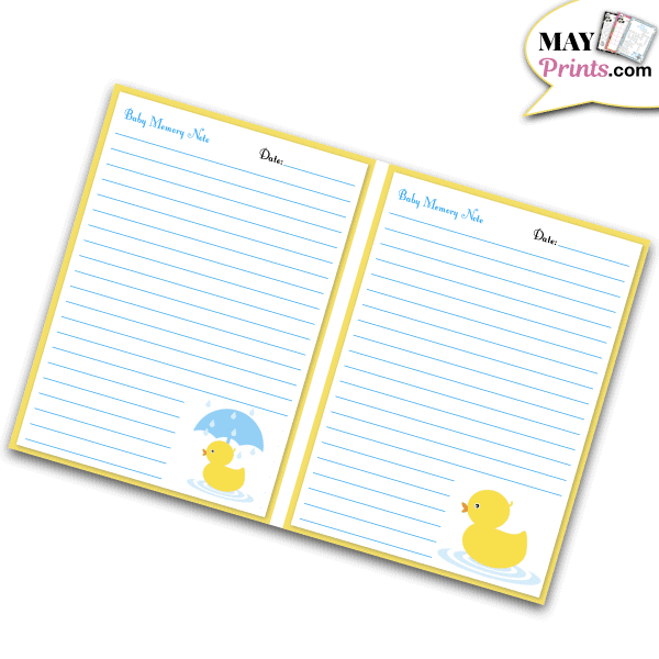 Printable Rubber Ducky Baby Shower Journal