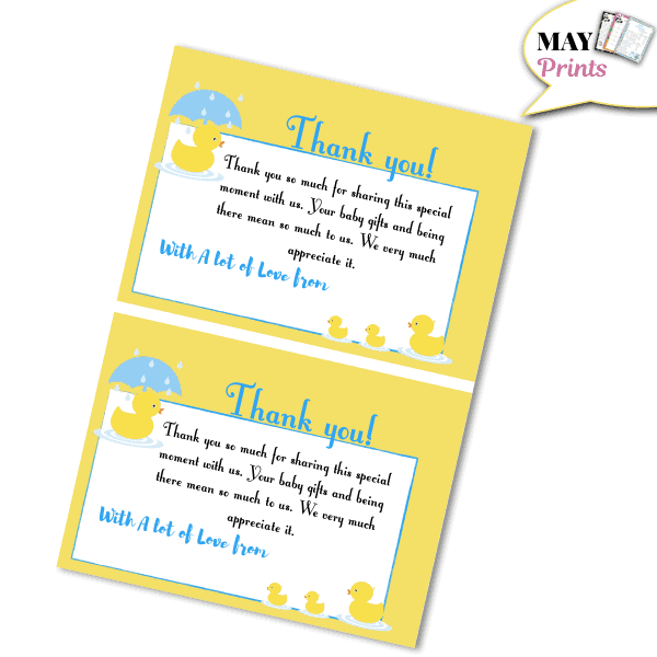 Printable Rubber Ducky Baby Shower Thank You Card