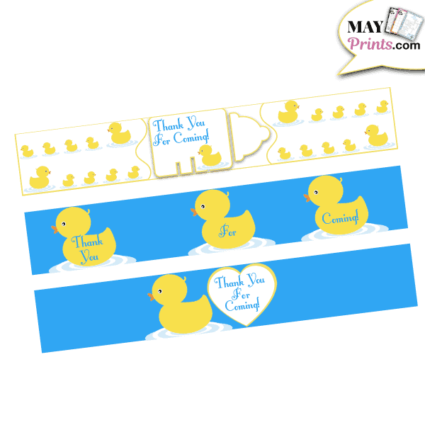 Printable Rubber Ducky Baby Shower Water Bottle Labels