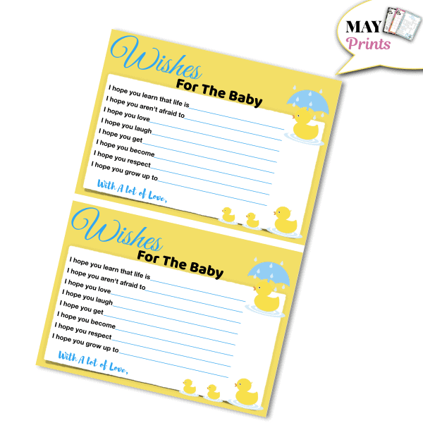 Printable Rubber Ducky Baby Shower Wish For The Baby
