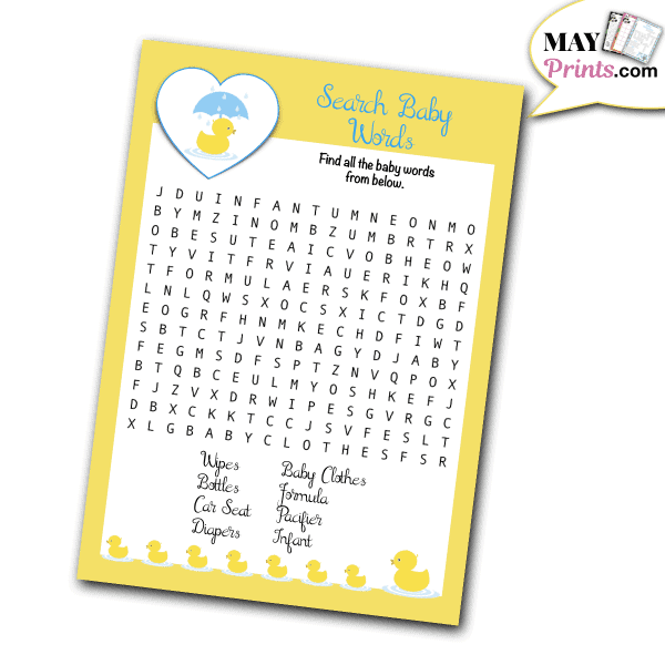 Rubber Ducky Baby Shower Games Search Baby Words