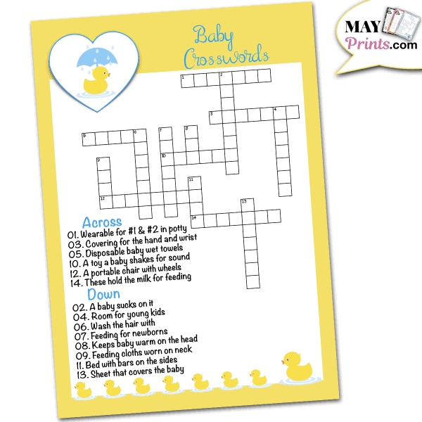 Rubber Ducky Baby Shower Games Baby Crosswords