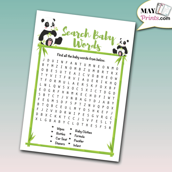 Panda Themed Baby Shower Games Search Baby Words
