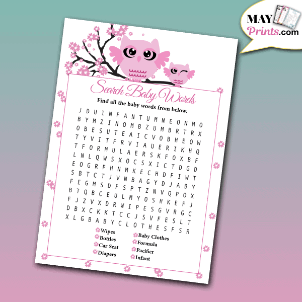 printable owl baby shower games