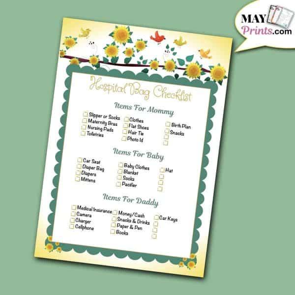 Sunflower Baby Shower Games Hospital Bag Checklist