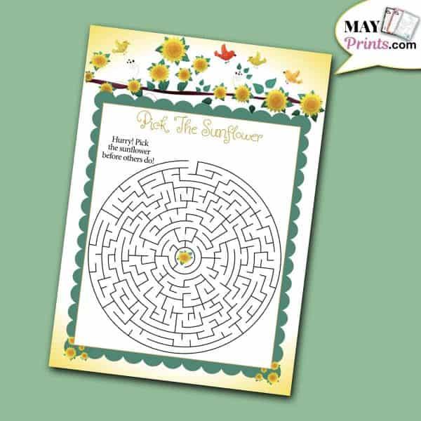 Sunflower Baby Shower Games Maze