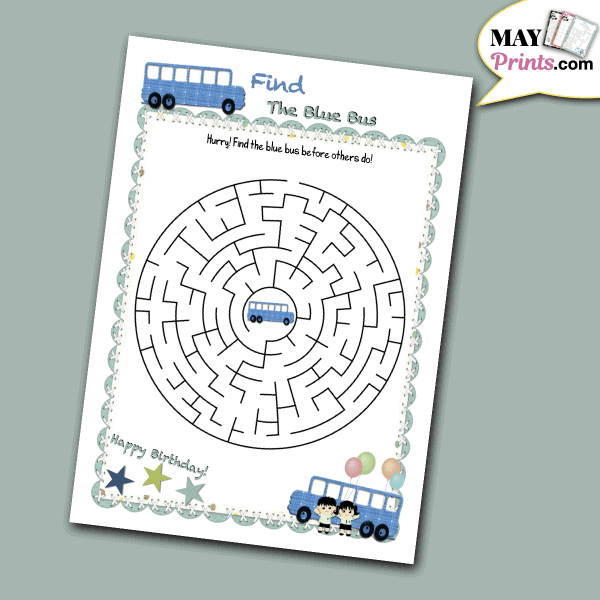 Printable School Bus Themed Birthday Party Games
