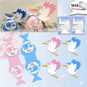 Stork Delivery Baby Shower Party Favors For Gender Reveal
