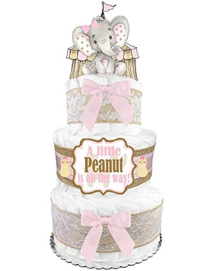 Elephant Diaper Cake For Girl