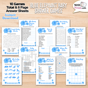 Printable Elephant Themed Baby Shower Games