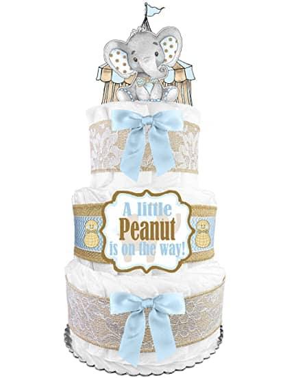 Blue Elephant Baby Shower Diaper Cake
