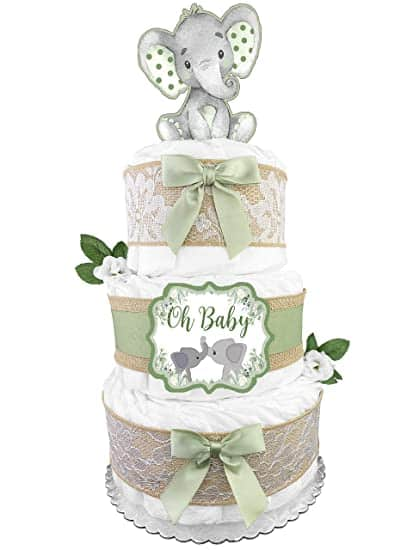 Green Elephant Diaper Cake For Boy and Girl