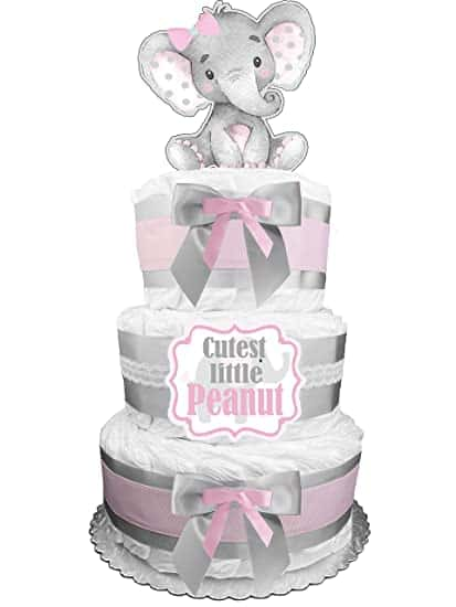 Elephant Diaper Cake For Baby Girl